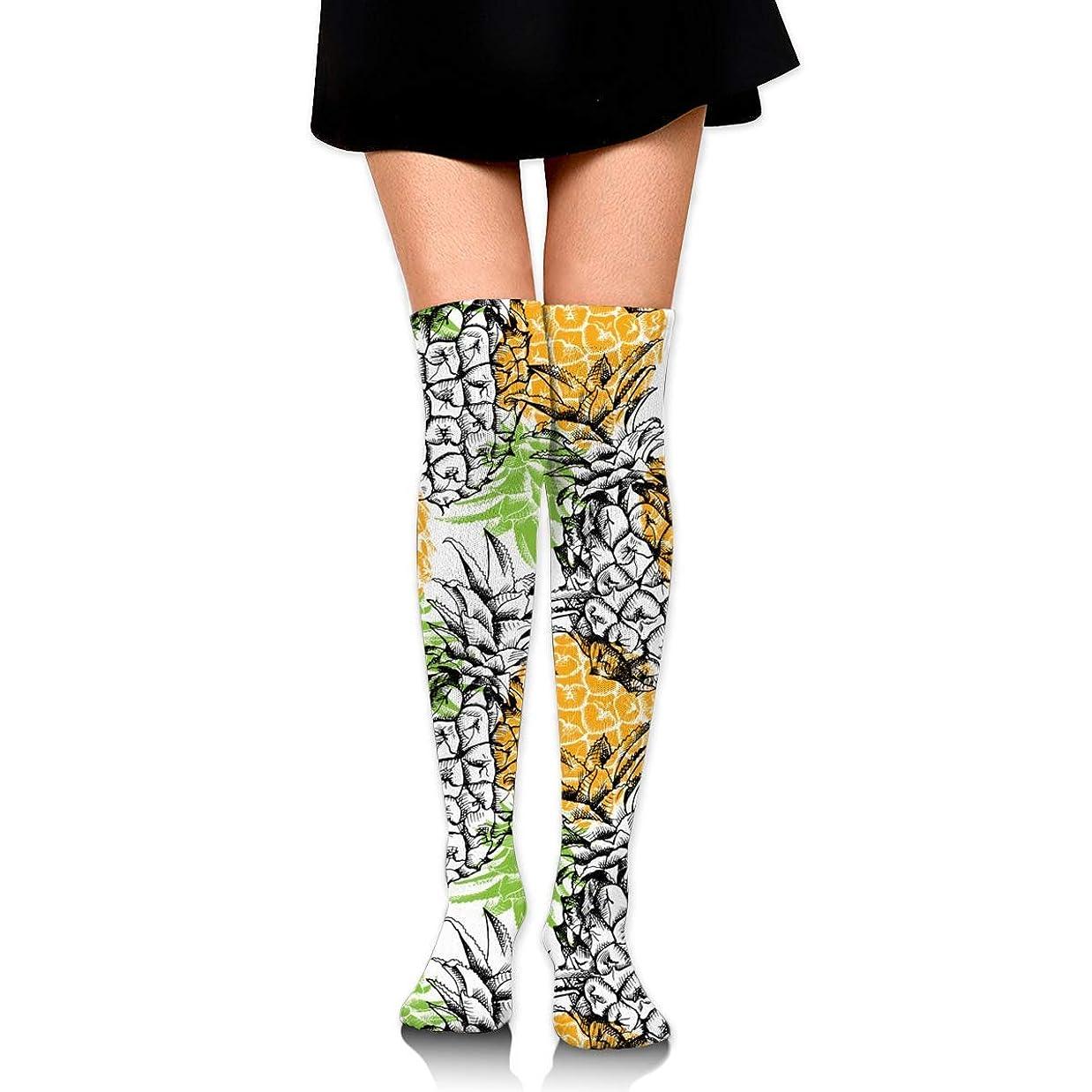 ふりをする氷看板MKLOS 通気性 圧縮ソックス Breathable Extra Long Cotton Mid Thigh High Yellow Pineapple Exotic Psychedelic Print Compression High Tube Thigh Boot Stockings Knee High Women Girl