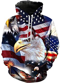 Bolayu Men's American Flag Eagle 3D Hooded Sweatshirt Loose Sport Casual Cool Lightweight Warm Autumn Winter Hoodie