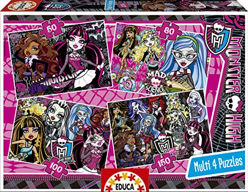 Puzzles Educa - Monster High, multipuzzles progresivos, 50 - 80 - 100 - 150 Piezas (15632)