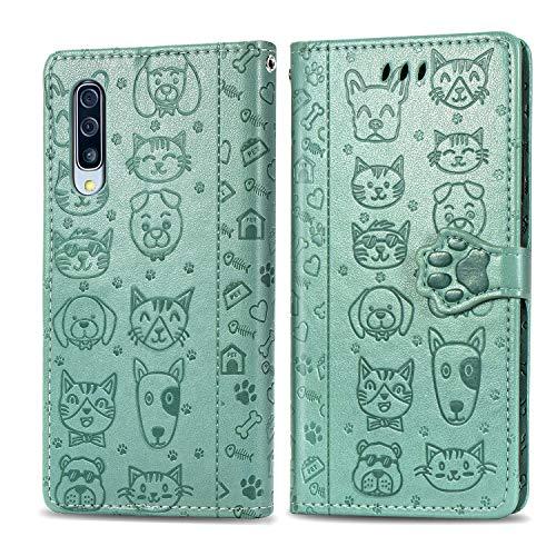 Miagon PU Cuir Portefeuille Coque pour Samsung Galaxy A10,Chat Chien Animal Gaufrage Flip Cover Étui à Rabat Magnétique Case Style Livre Protection Housse avec Support,Vert