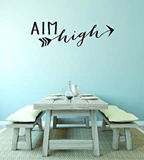 "Design with Vinyl RAD V 363 1 Aim High Home Decor Living Room Bedroom Picture Art Decal, 10"" x 20"", Black"