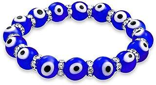 Bling Jewelry Colorato Vetro Turco Perline buona Fortuna Protezione Evil Eye Stretch Braccialetto per Le Donne per Adolesc...