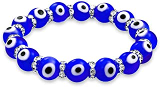 Bling Jewelry Turkish Glass Bead Evil Eye Stretch Bracelet for Women for Teen Rondelle Crystal Spacers for Protection  More Colors