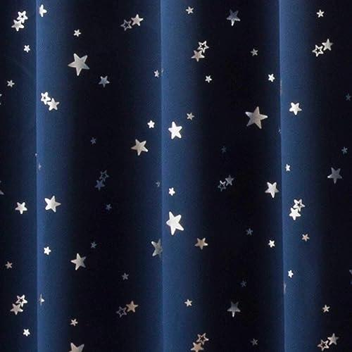 カーテン 1級遮光 断熱 箔プリント 星柄 プラネット ネイビーブルー 幅100cm×丈178cm 2枚入 8サイズ