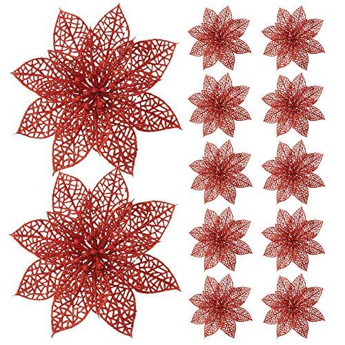 Turelifes, confezione da 12 fiori di stella di Natale artificiali glitterati, da 15 cm, Rosso, 5.99''*5.99''