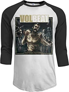 JeremiahR Volbeat Seal The Deal & Let's Boogie Men's 3/4 Sleeve Raglan Baseball Tee Black