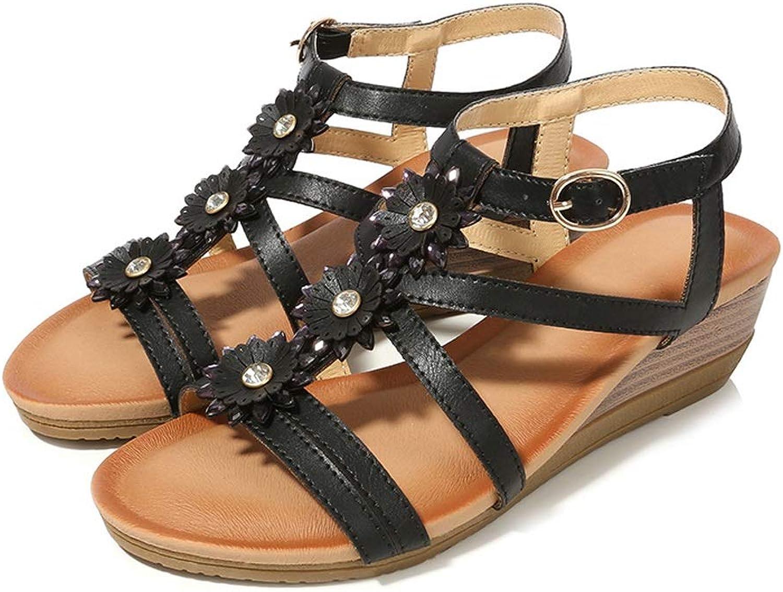 ZHAO YELONG Women's Wedge Sandals Rhinestone Flower Round Fashion Summer shoes
