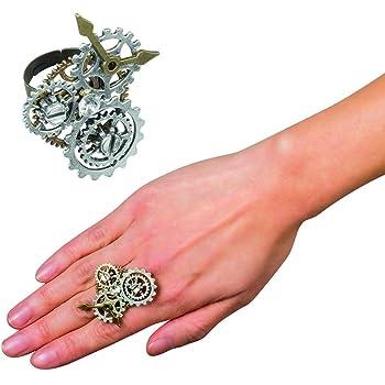 NET TOYS Steampunk Armband mit verbundenem Ring | Braun