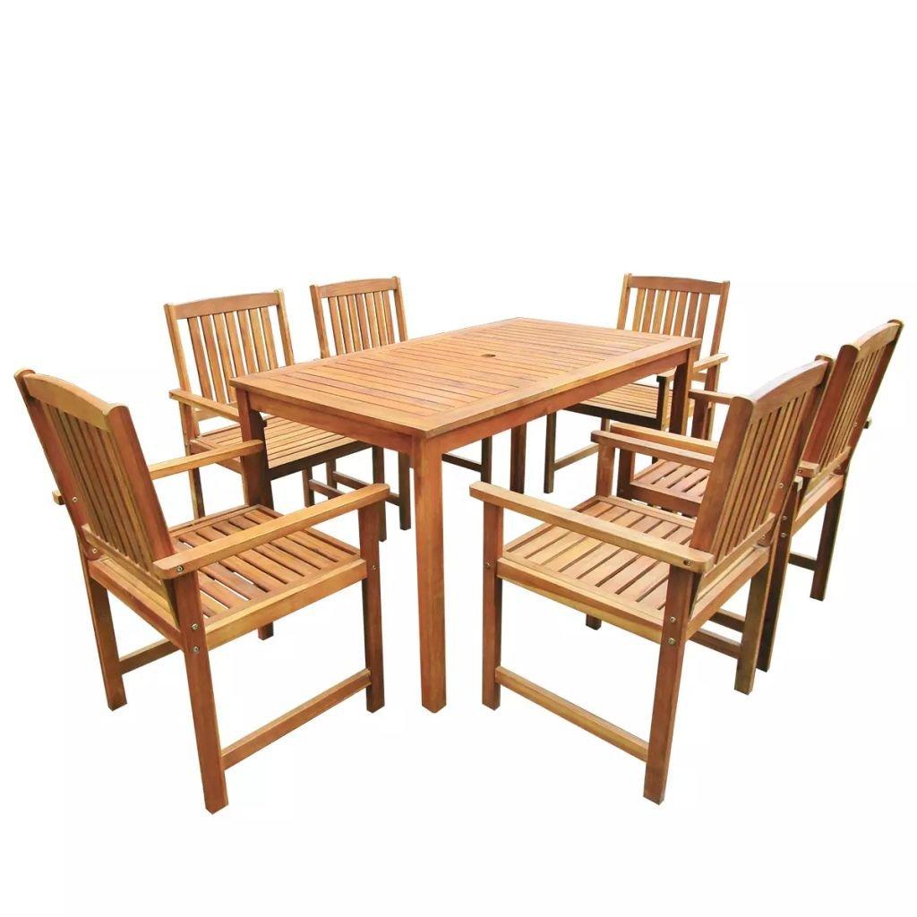 Tidyard Conjunto de Mesa sillas,Mesa Salón y Sillas,Muebles de Jardin Exterior Conjuntos, Set de Comedor de jardín 7 Piezas Madera Maciza de Acacia: Amazon.es: Hogar
