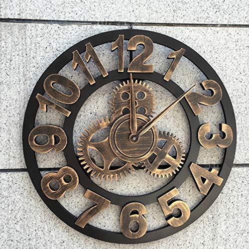 MNZDDDP Reloj De Pared Grande Vintage 3D 40 Cm De Engranajes Industria De Viento Decoración De Viento Loft Salón De Pelo Cafetería Decoración De La Sala De Estar (Color : Style 2, Size : 16 In