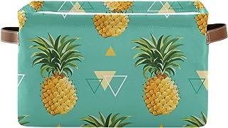 F17 Panier de rangement pliable en toile avec ananas, motif géométrique tropical, boîte de rangement avec poignée pour pla...