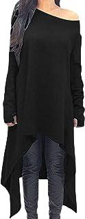 ZANZEA Vestito Felpe Donna Maniche Lunghe con Scollo V Maglione Lungo Sciolto Casual Vestito da Festa