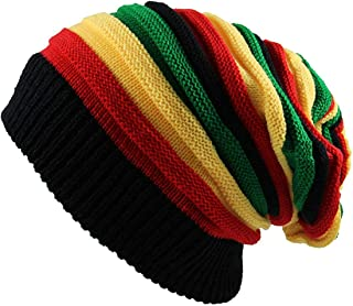 Qhome Fashion Bob Marley Jamaican Reggae Cap Multi-Colour Striped Rasta Hat Slouchy Baggie Beanie Skullies Gorro Rasta Women