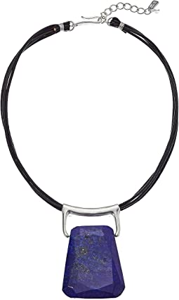 Brown Leather and Lapis Stone Pendant Necklace
