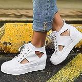 LJT Zapatillas de Lona de Fondo Suave de Las Mujeres Moda Casual cómodo Zapatillas Altas de Zapatillas de Encaje hacia Arriba Zapatos para Caminar Zapatos Deportivos Transpirables livianos,Blanco,37