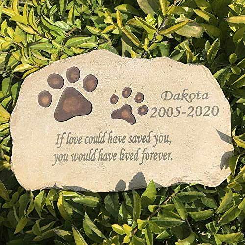 FANN Personalized Pet Memorial Stones Dog Cat Paw Prints Grave Markers, Engraved With Pet's Name And Born Passed Dates & Quote, Pet Loss Gift