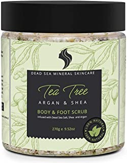 Natural and Organic Exfoliating Tea Tree Dead Sea Salt Scrub with 23 Dead Sea Minerals, Argan Oil, Vitamin E and Shea Butter. Helps Reduce Dandruff and Body Odor