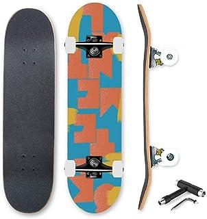 YEENUOスケートボード コンプリート 板 トレーニング スケートボードダブルキックトリックダンスショートボードスケボー7層はプロコンプリートスケートボードメープルウッドロングボード、ティーン大人初心者ガールズボーイズ子供のための サーフロン...