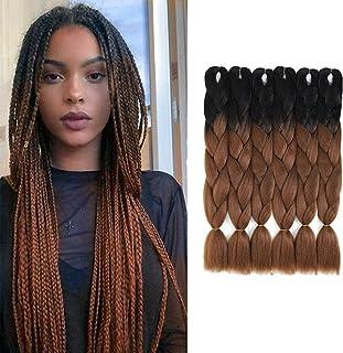 Amchoice 6 Packs Ombre Braiding Hair Kanekalon Jumbo Braiding Hair Extensions 24 Inch Jumbo Braids for Twist Crochet Braid...