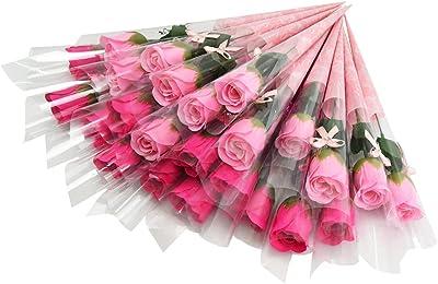 ソープフラワー 薔薇 一輪 個別包装 枯れない ギフト 記念日 お返し (ピンク×レッド 24本)