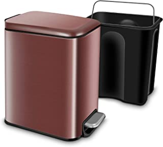YCTEC Rectangular Small Trash Can with Lid Soft Close and Removable Inner Wastebasket, Anti-Fingerprint Stainless Steel Step Trash Can for Bathroom, Bedroom, Office, Kids Room, 5L/1.3Gal, Rose Gold