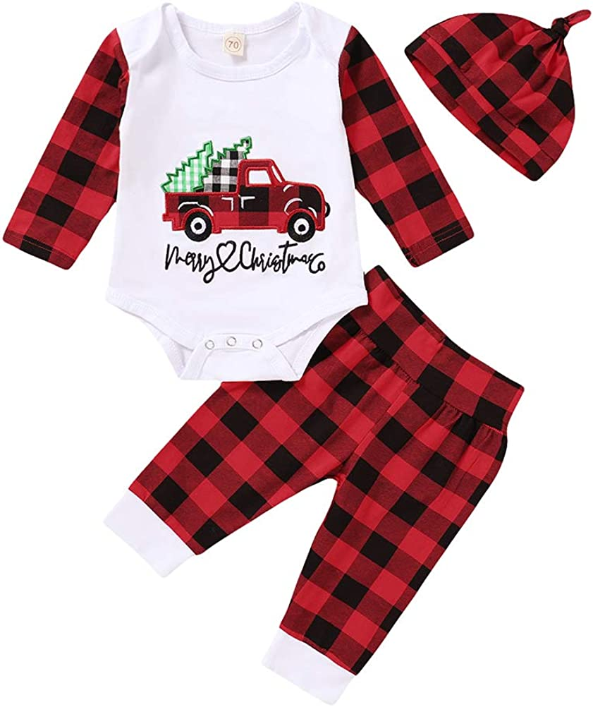 Baby Boy Girls Christmas Outfits Merry Christmas Romper Plaid Pant Hat Xmas Set