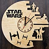 Star Wars Design Real Wood Wall Clock - Eco Friendly Natural Living Room Wall Decor - Creative Gift Idea for His and Her