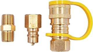 KIBOW 100% Solid Brass Propane/Natural Gas Quick-Connect Kit 3/8 inch Male Pipe Thread x 3/8 inch Female Pipe Thread- CSA Certified.