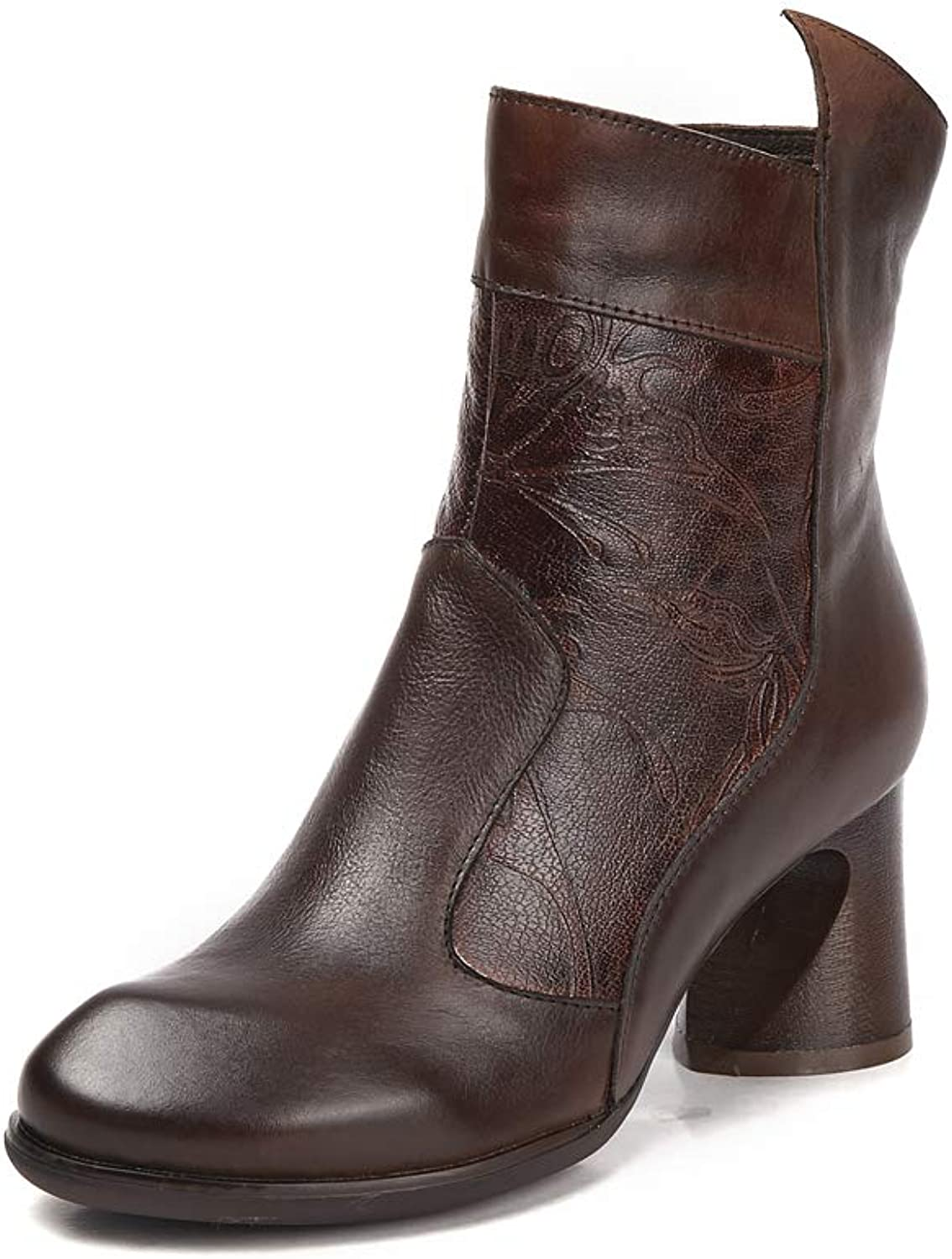 Women's Martin Boots Leather Round Head high Heel Boots Thick Side Zipper National Wind Vintage Carved Pattern Decorative Single Boots