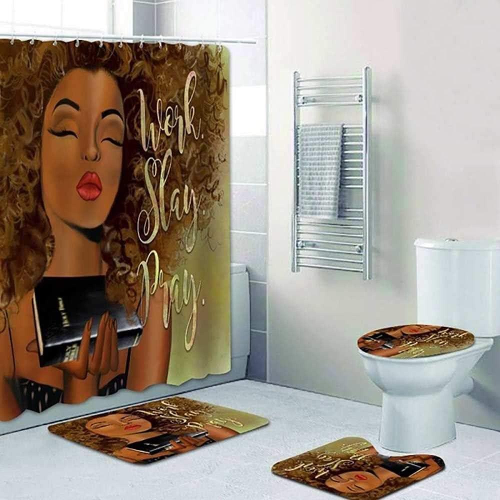 Polnfeg African American Shower Curtain Girl Work 着後レビューで 送料無料 Black お値打ち価格で Set Slay