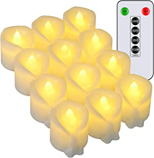 LED Timer Tea Lights with Remote, PChero 12pcs Flameless Flickering Battery Operated Timed Tealights Candles for Wedding P...