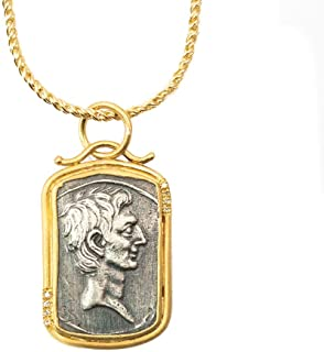 14k Gold, Silver, Diamond Julius Caesar Roman Coin Necklace - 16 inches Long Handmade Necklace by Miller Mae Designs