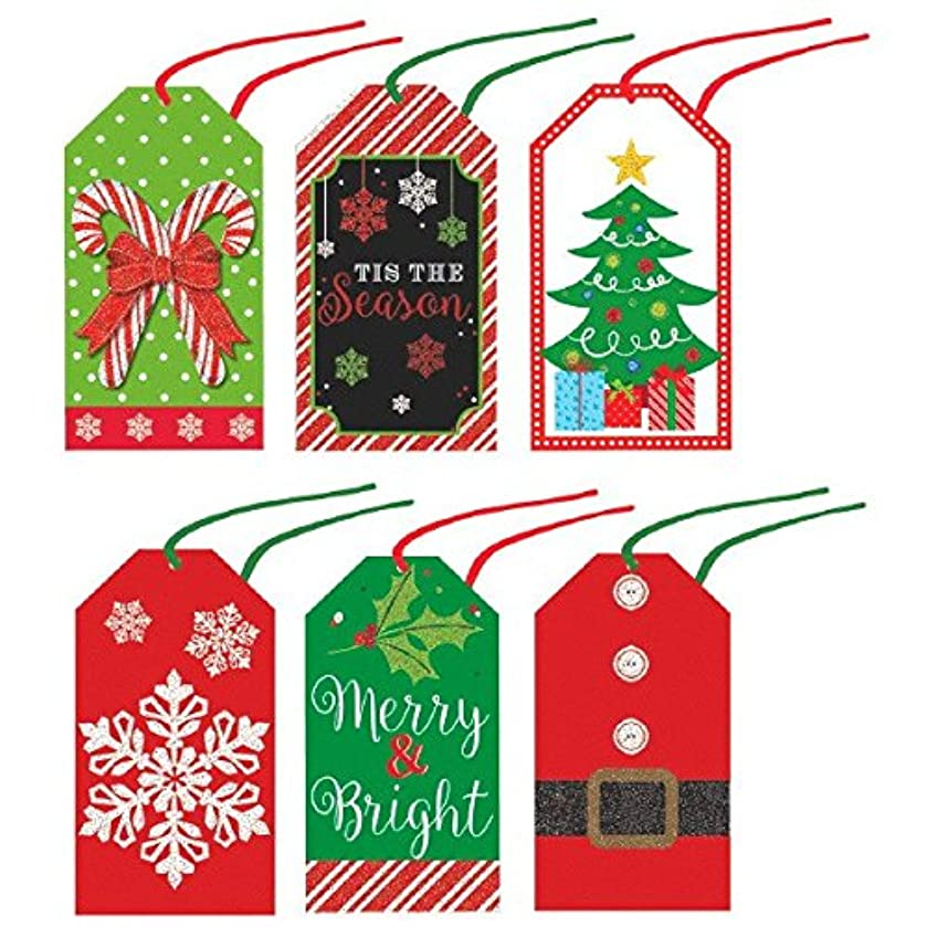 Assorted Modern Christmas Tape-on Paper Tags, 36 Ct. | Party Accessory