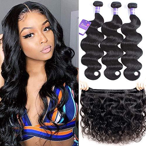 """Faddishair Brazilian Bundles Virgin Human Hair 14""""16""""18"""" Body Wave 3 Bundles 100% Unprocessed Virgin Human Hair Weave Brazilian Hair Bundles Natural Black Color 300g"""