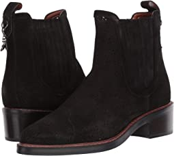 COACH Bowery Chelsea Boot with Cut Out Tea Rose,Black