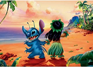 Photo Backdrop 3x5 Cartoon Lilo and Stitch Photography Background for Birthday Hawaii Luau Baby Shower Backdrops for Boy and Girl