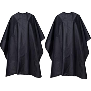 """FocusOn 2 Pack Professional Barber Cape, Salon Styling Cape with Adjustable Snap Closure for Hair Cutting, 59"""" x 51"""", Black"""