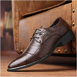 XueQing Pan Cap Toe Oxfords for Men Formal Business Dress Shoes Lace up PU Leather Pointed Toe Metal Decoration Low Block Heels Anti-Slip (Color : Brown, Size : 8 UK)