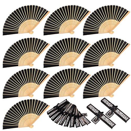 moinkerin 10 Piezas Abanicos de Mano Abanico Plegable de Bambú para Foto Prop para Fiestas y cumpleaños Bodas Recuerdos Regalo de Iglesia Favores de Fiesta Bailando Decoración de DIY (Negro)