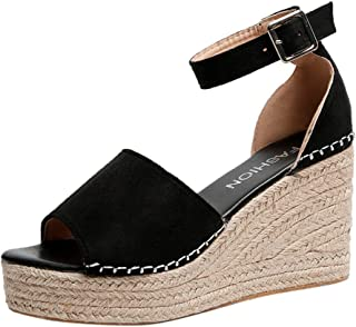 ◕。Womens Fashion Breathable Open Toe Straw Platform Wedge Sandals with Buckle Strap Summer High Heel Sandals Shoes
