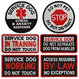 6 PCS bundle: Service dog in training patch; Service dog working patch; Do not pet patch; Service dog stress & anxiety response patch; Service dog do not separate dog from handler patch; Access required by law no exceptions patch Top Quality Embroide...