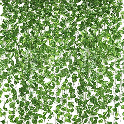 Nice-live Fake Plants Room Decor, 12 Strands of Artificial Ivy Vines Hanging Green Dill Leaf, Greenery Garland Backdrop for Wall Home Kitchen Office Wedding Decorations