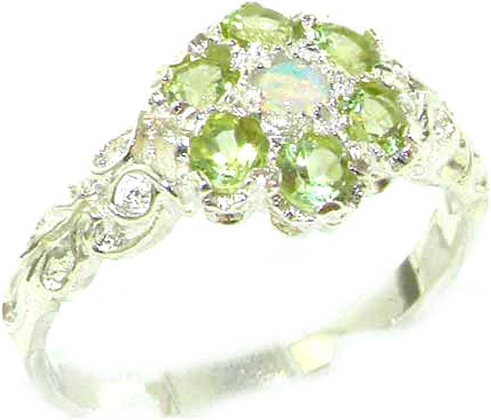 925 Sterling Silver Real Genuine Opal Peridot Ri and Band Max 70% OFF Womens Popular product