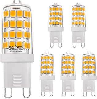 BALDER G9 5W LED Bulb,(50W Equivalent), Bi Pin Base, Warm White 3000K, Non-Dimmable, (6-Pack)
