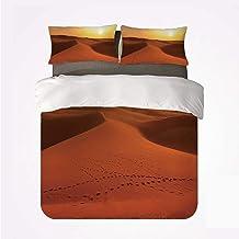 Soefipok Juego de Fundas nórdicas Desert Various 3 Juego de casamientos, Huellas en Las Dunas de Arena al Amanecer Hot Dubai Landscape Destino de Viaje para el hogar