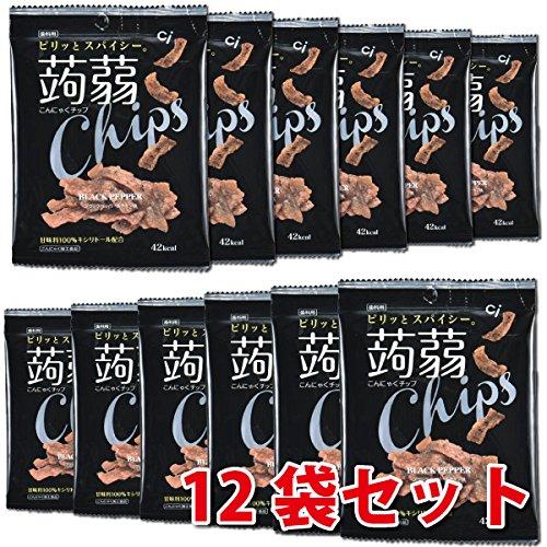 【歯科用】こんにゃくチップ(ブラックペッパー&チキン味 12袋セット(15g×12袋) 甘味料キシリトール100%