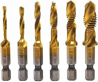 Sunxenze 6Pcs Titanium Combination Drill and Tap Set,Metric Thread HSS M3-M10 Screw Tapping bit Tool 1/4