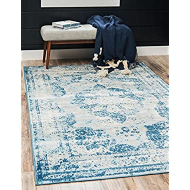 Unique Loom Sofia Collection Traditional Vintage Blue Home Décor Area Rug (5' x 8')