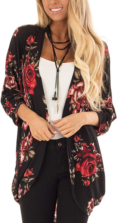 Kimono Cardigan for Women 3 4 Sleeve Soft Lightweight Shawl Boho Cover up Tops