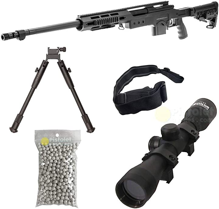 Fucile per softair, swiss arms modello s.a.s 12 sniper, a molla, 0,5 joule, colore nero - pack complet B07MBH59HD